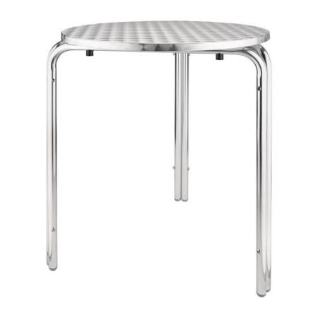Table bistro empilable Ø60cm / Acier inoxydable