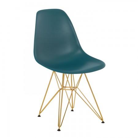 Scandinave / Métal doré - Bleu Turquoise Intense