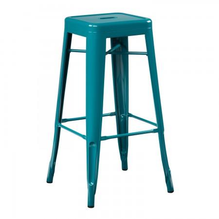 Tabouret industriel / Métal - Bleu Turquoise