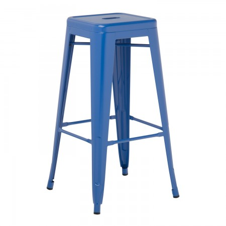 Tabouret industriel / Métal - Bleu Lapis-Lazuli