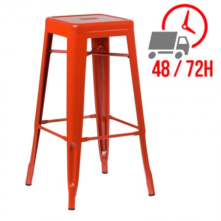 Tabouret industriel / Métal - Orange