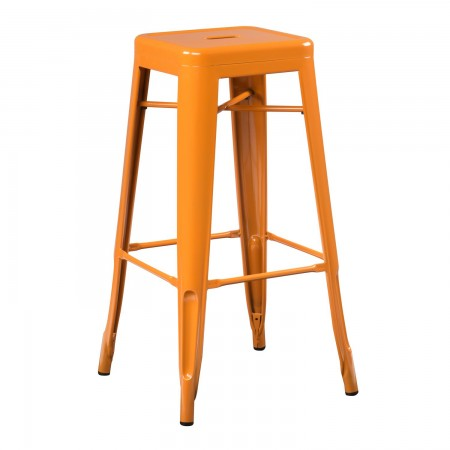 Tabouret industriel / Métal - Orange Safran