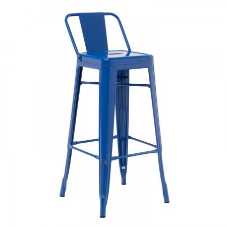 Tabouret Industriel / Métal Dossier - Bleu Lapis-Lazuli