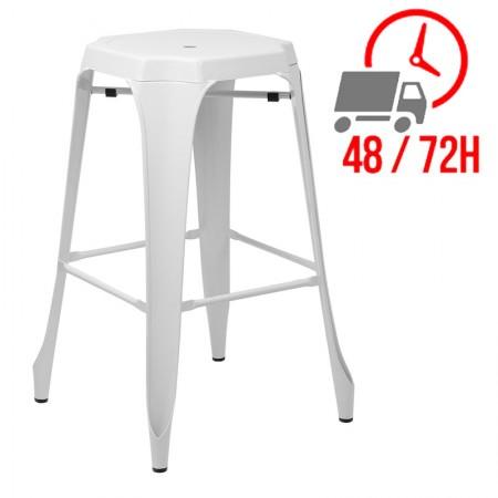 Tabouret Industrielle Design / Métal - Blanc