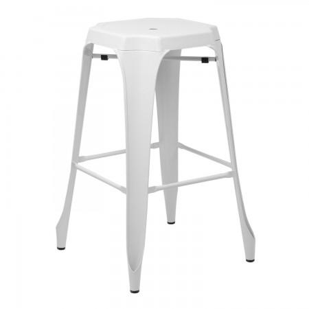 Tabouret Industriel Design / Métal - Blanc