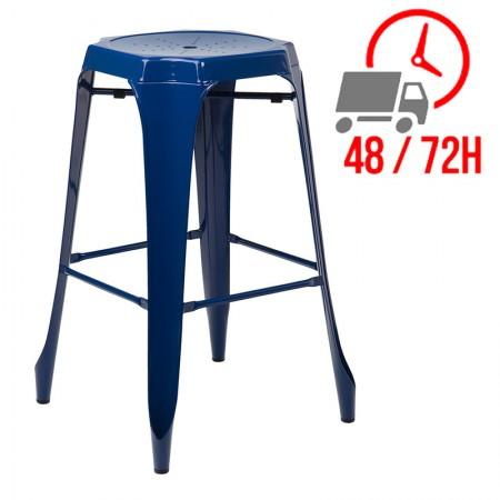 Tabouret Industrielle Design / Métal - Bleu Marin
