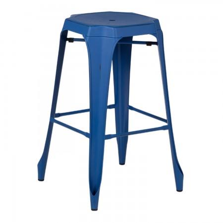 Tabouret Industriel Design / Métal Vintage - Bleu Lapis-Lazuli