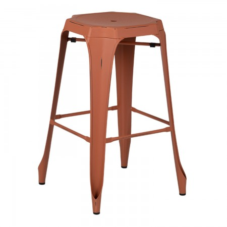 Tabouret Industriel Design / Métal Vintage - Rouge Argile