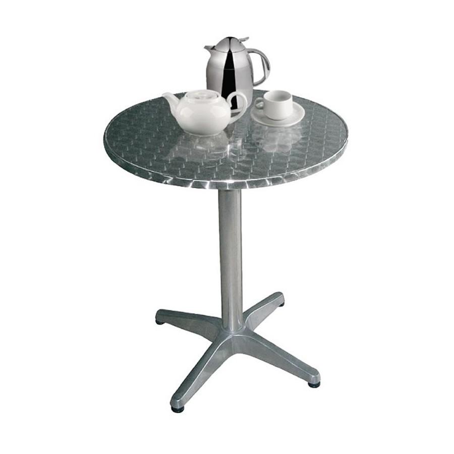 table bistro ronde 80 cm acier et alu. Black Bedroom Furniture Sets. Home Design Ideas
