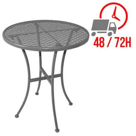 Table bistro Ø60cm Grise / Acier ajouré