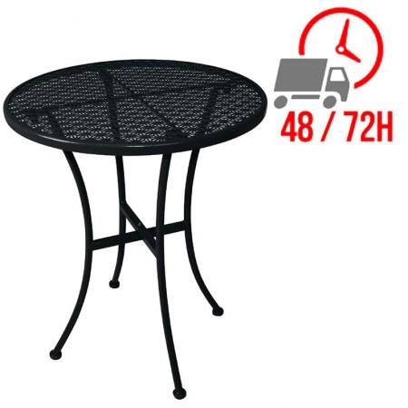 Table bistro Ø60cm Noire / Acier ajouré