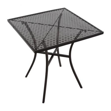 Table bistro 60x60cm Noire / Acier ajouré
