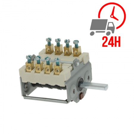 Commutateur à cames / 2 positions de commutation 4NO séquence des opérations 0-1 16A axe ø 6x4,6mm