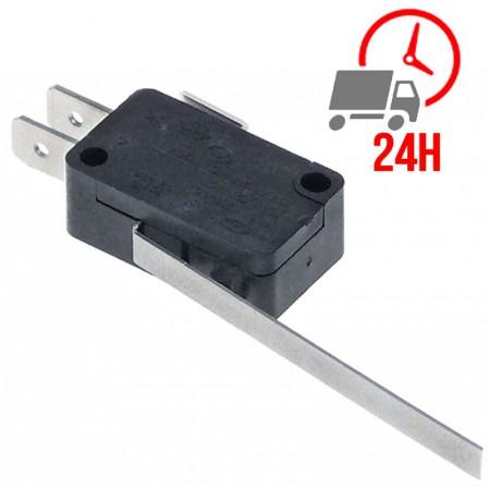 Microrupteur avec levier / 250V 16A 1CO raccord cosse mâle 6,3mm L 60mm