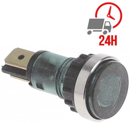 Voyant lumineux vert / ø 12mm 400V raccord cosse mâle 6,3mm