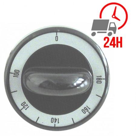 Manette / thermostat t.max. 180°C ø 62mm axe ø 6x4,6mm plat en haut noir