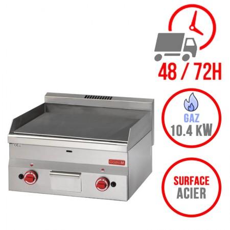 Plaque de cuisson gaz 600 x 600 mm (10.4kW) - Surface acier lisse