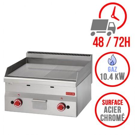 Plaque de cuisson gaz 600 x 600 mm (10.4kW) - Surface acier chromée demi lisse demi rainurée