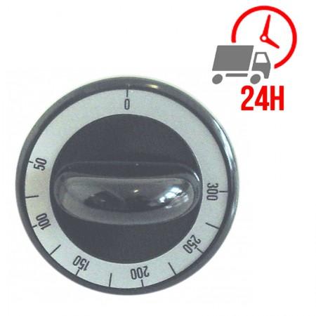 Manette / thermostat t.max. 300°C ø 62mm axe ø 6x4,6mm plat en haut noir