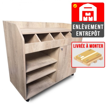 Desserte de service en bois clair (à monter) | Enlèvement Entrepôt