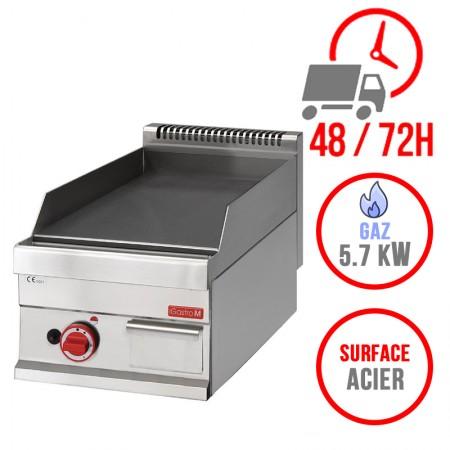 Plaque de cuisson gaz 400 x 650 mm (5.7kW) - Surface acier lisse
