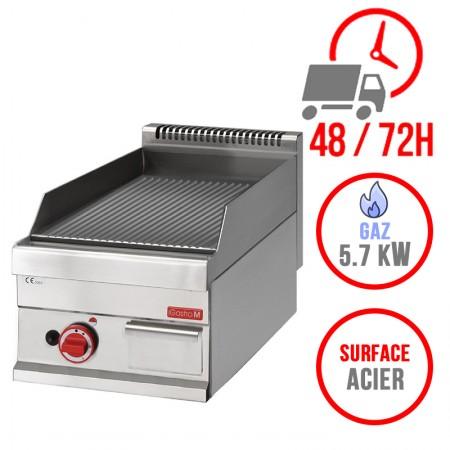 Plaque de cuisson gaz 400 x 650 mm (5.7kW) - Surface acier rainurée