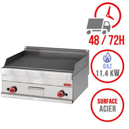 Plaque de cuisson gaz 700 x 650 mm (11.4kW) - Surface acier lisse