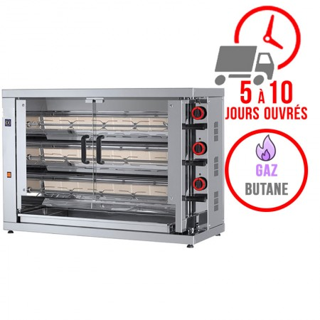 Rôtissoire 3 broches - 15/18 Poulets - Gaz butane / FECA
