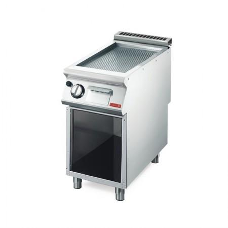 Plaque de cuisson gaz sur pieds 400 x 700 mm (6kW) - Surface acier rainurée