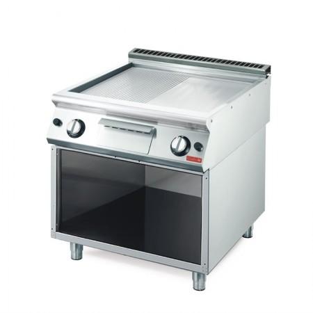Plaque de cuisson gaz sur pieds 800 x 700 mm (12kW) - Surface demi lisse demi rainurée chromée