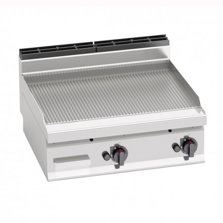 Plaque de cuisson gaz 800 x 700 mm (13.8kW) - Surface acier rainurée