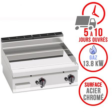 Plaque de cuisson gaz 800 x 700 mm (13.8kW) - Surface acier chromée