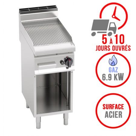 Plaque de cuisson gaz sur pieds 400 x 700 mm (6.9kW) - Surface acier rainurée