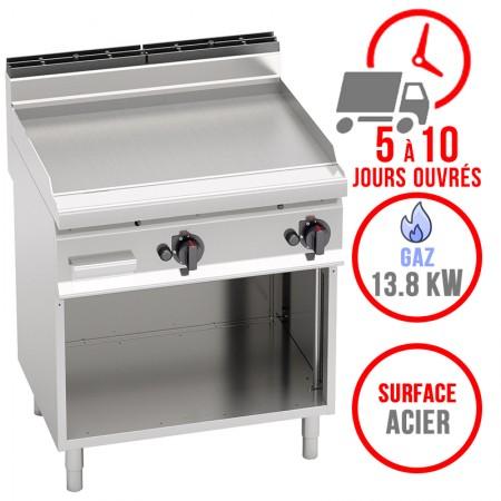 Plaque de cuisson gaz sur pieds 800 x 700 mm (13.8kW) - Surface acier lisse