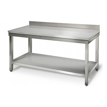 Table inox 1600 x 600 mm adossée / RESTONOBLE