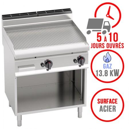 Plaque de cuisson gaz sur pieds 800 x 700 mm (13.8kW) - Surface acier rainurée