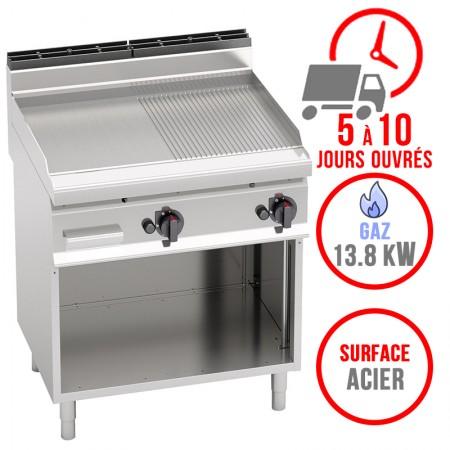 Plaque de cuisson gaz sur pieds 800 x 700 mm (13.8kW) - Surface acier demi lisse demi rainurée