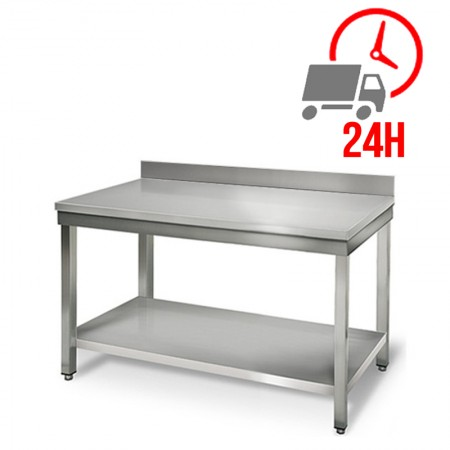 Table inox 1000 x 600 mm adossée / RESTONOBLE