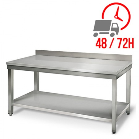 Table inox 1800 x 600 mm adossée / RESTONOBLE