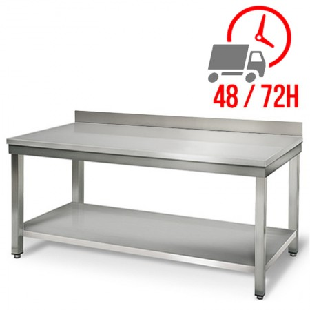 Table inox 2000 x 600 mm adossée / RESTONOBLE