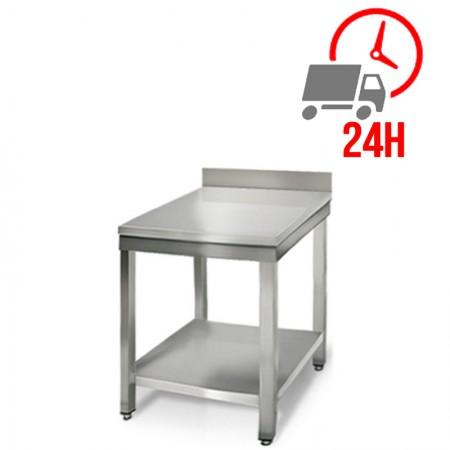 Table inox 600 mm adossée