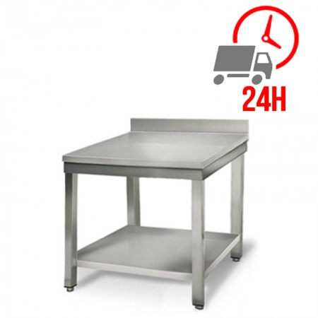 Table inox 700 x 700 mm adossée / RESTONOBLE