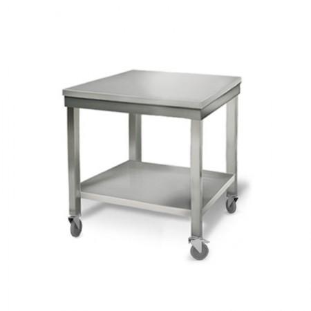 Table inox 700 x 700 mm sur roulettes / RESTONOBLE