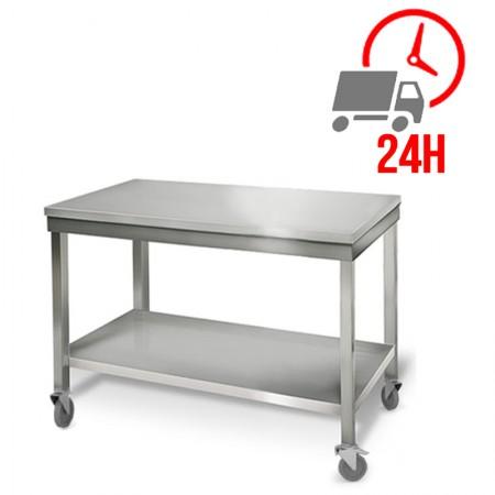 Table inox 1000 x 700 mm sur roulettes / RESTONOBLE