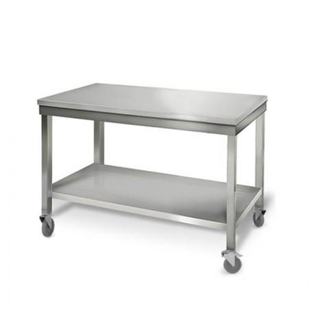 Table inox 1200 x 700 mm sur roulettes / GOLDINOX