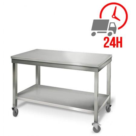 Table inox 1200 x 700 mm sur roulettes / RESTONOBLE