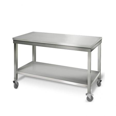 Table inox 1400 x 700 mm sur roulettes / GOLDINOX