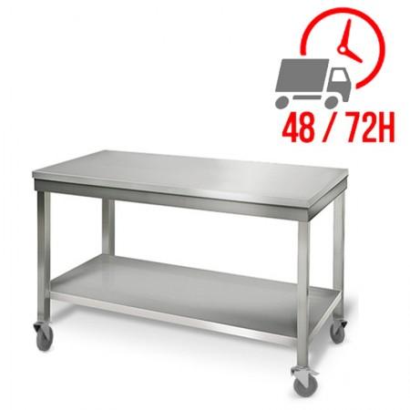 Table inox 1400 x 700 mm sur roulettes / RESTONOBLE