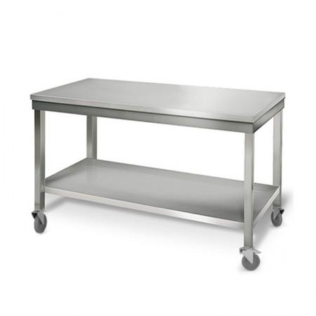 Table inox 1500 x 700 mm sur roulettes / GOLDINOX