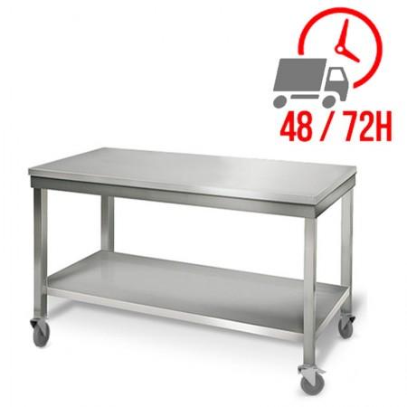 Table inox 1500 x 700 mm sur roulettes / RESTONOBLE
